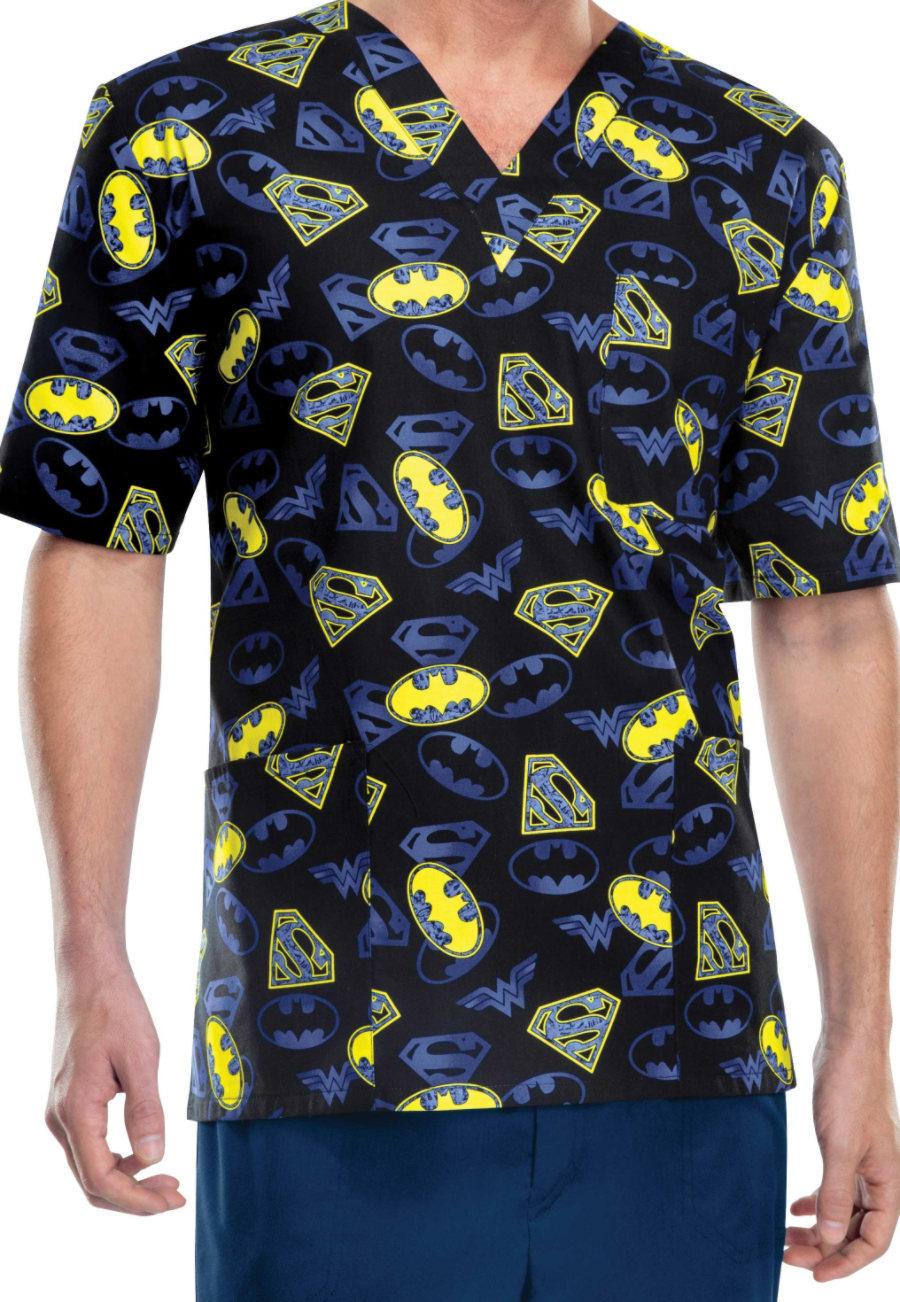Cherokee Tooniforms Justice League Unisex Scrub Tops - Justice League - XS 6876JL