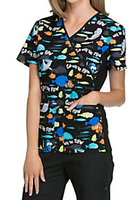 Cherokee Tooniforms Go With The Flow Print Scrub Tops