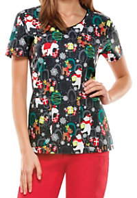 Dickies EDS Beary Christmas To All Print Scrub Tops