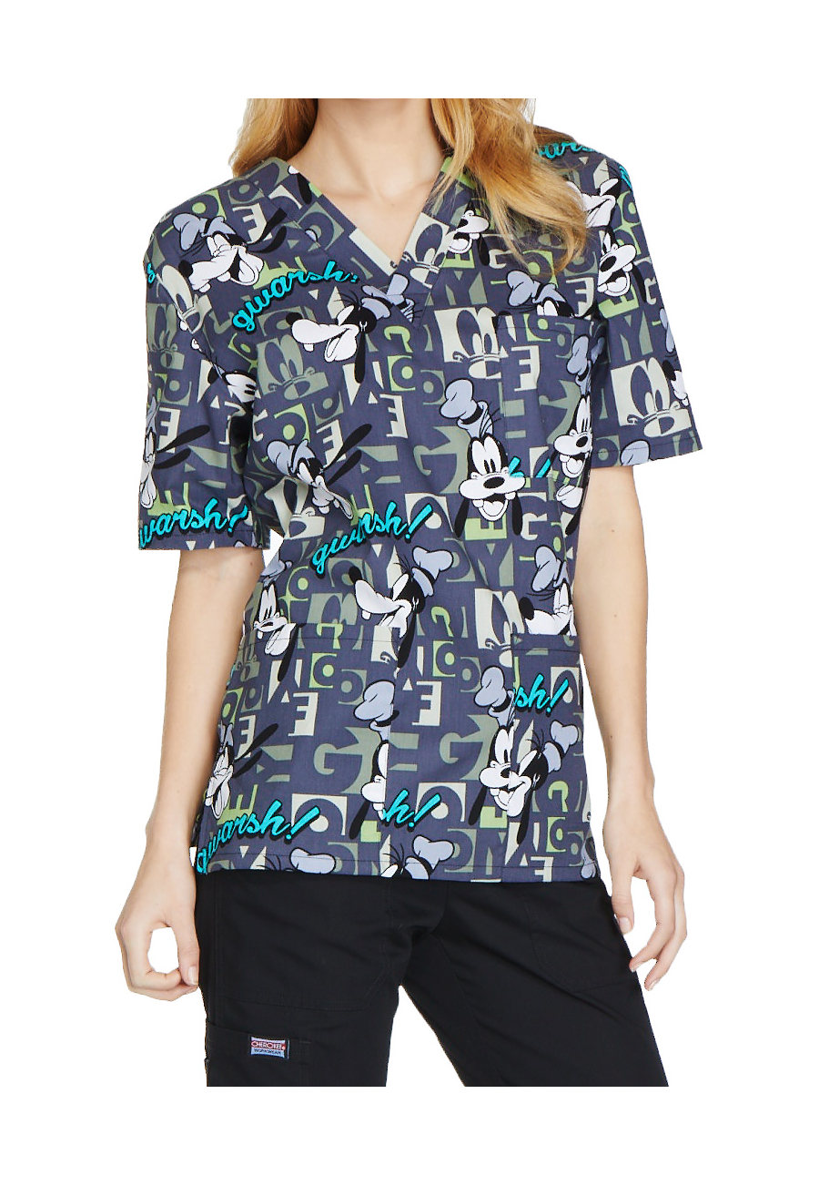 Cherokee Tooniforms Unisex Gwarsh V-neck Print Scrub Tops - Gwarsh
