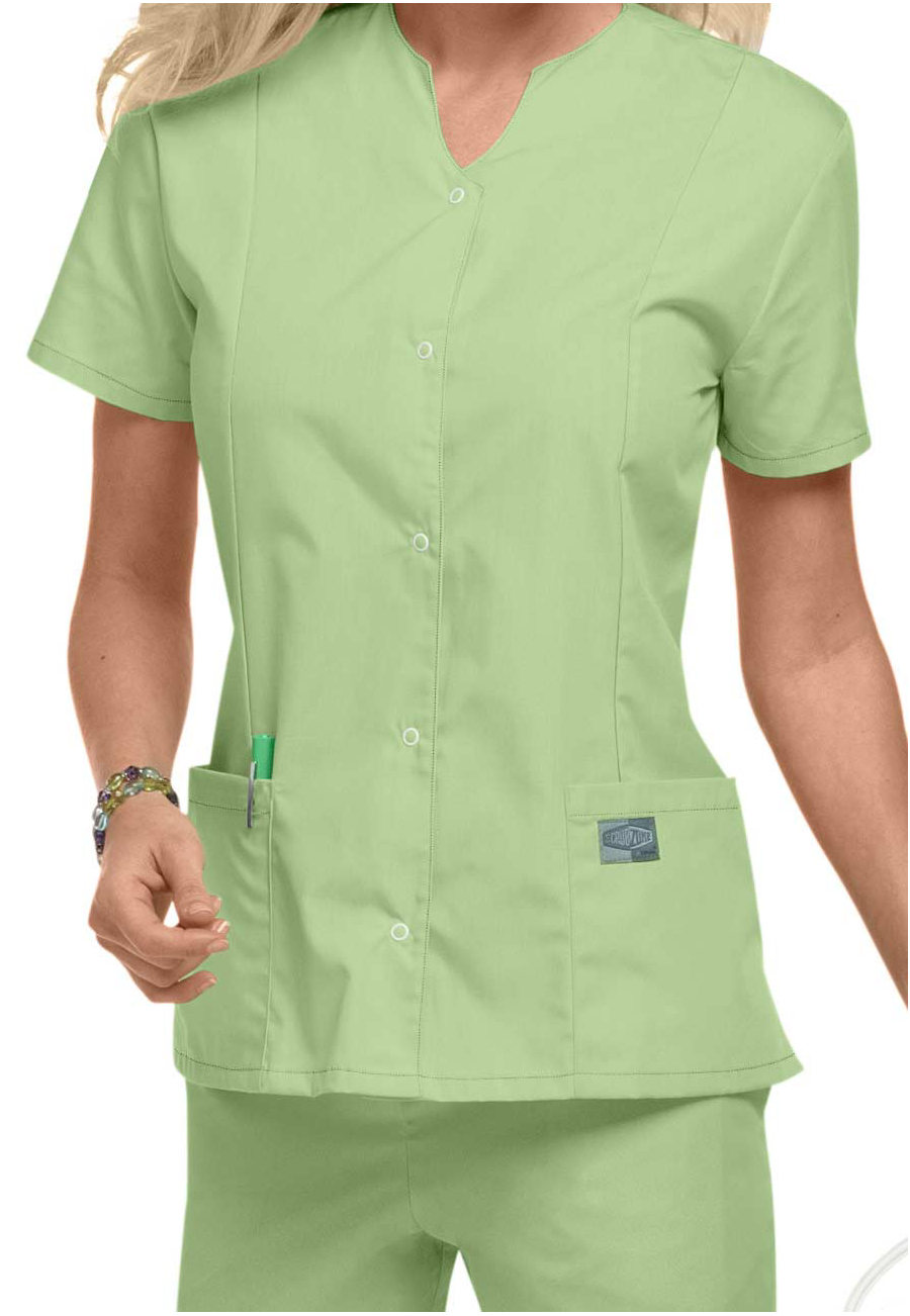 Scrubzone Snap Front Scrub Tops - Aloe - 5X plus size,  plus size fashion plus size appare
