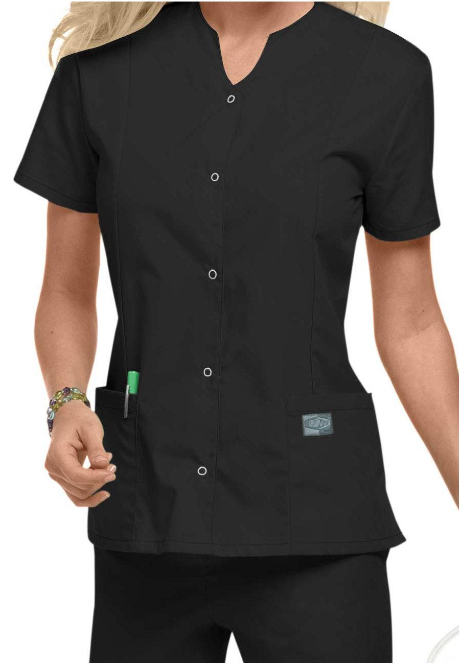 Scrubzone Snap Front Scrub Tops - Black - S plus size,  plus size fashion plus size appare