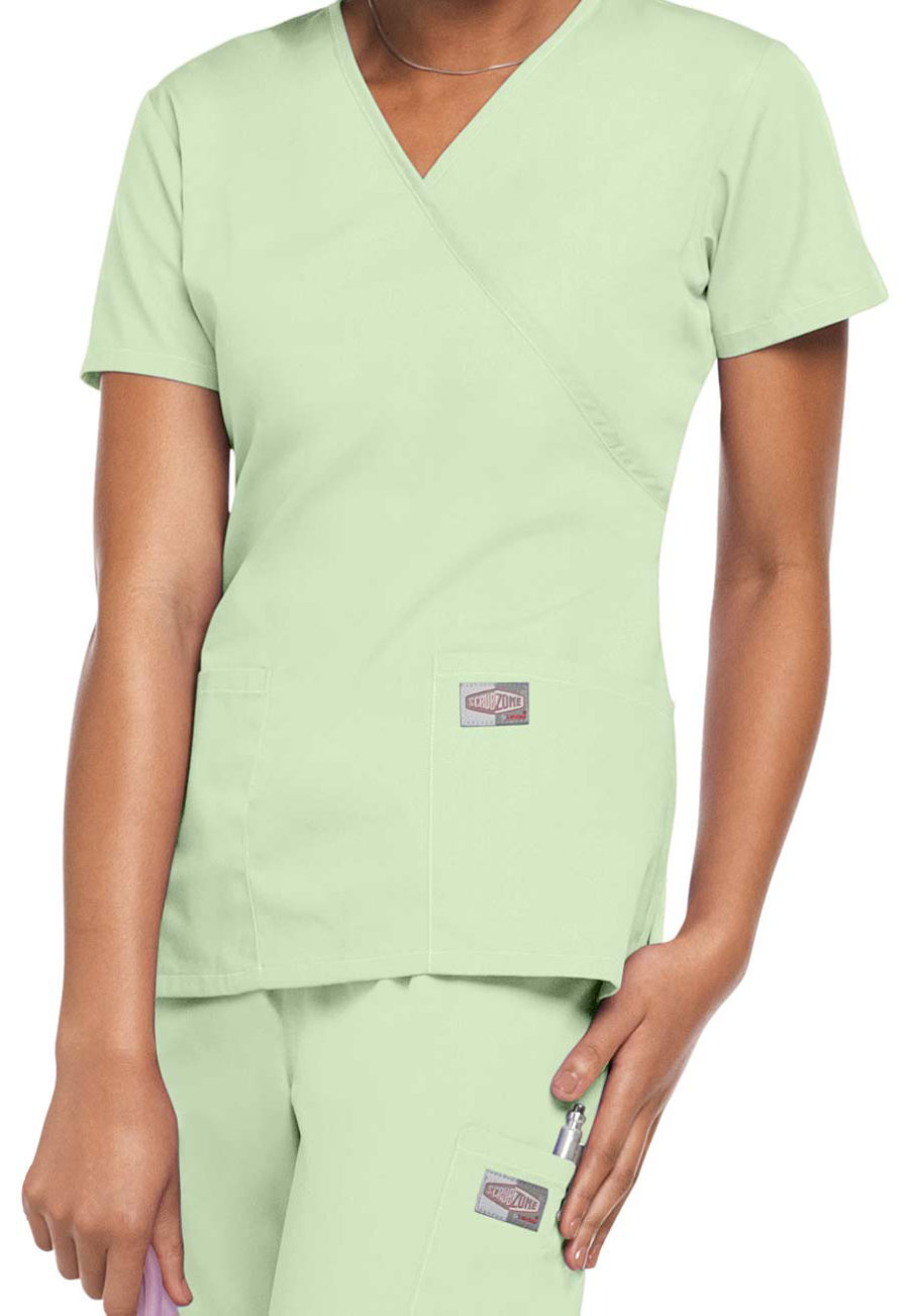 Scrubzone Mock-wrap Scrub Tops - Aloe - S plus size,  plus size fashion plus size appare
