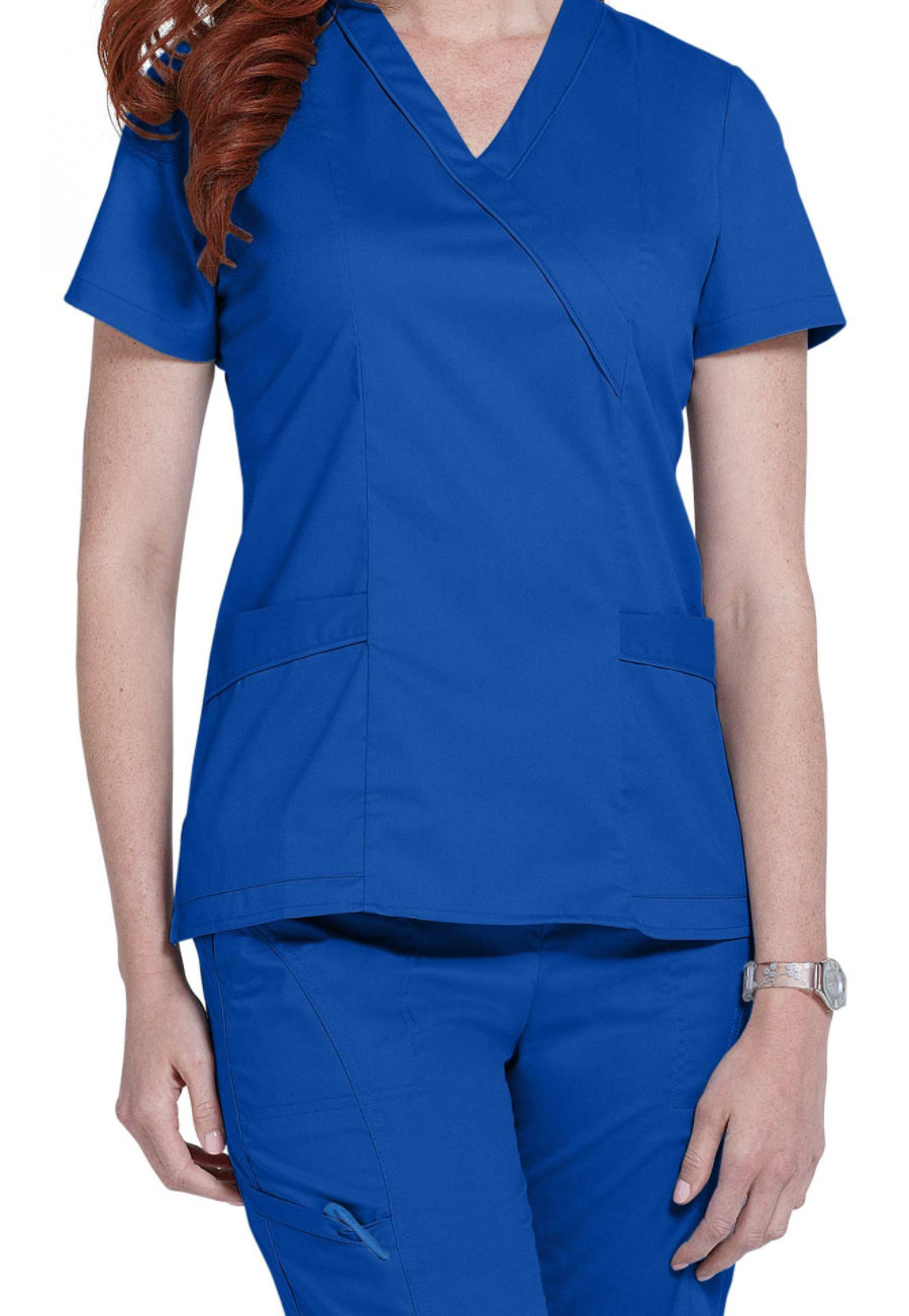 White Cross Allure Crossover Scrub Tops - Royal - XS plus size,  plus size fashion plus size appare