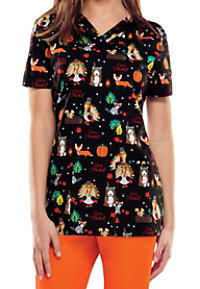 Dickies EDS Thankful For Thanksgiving Print Scrub Tops