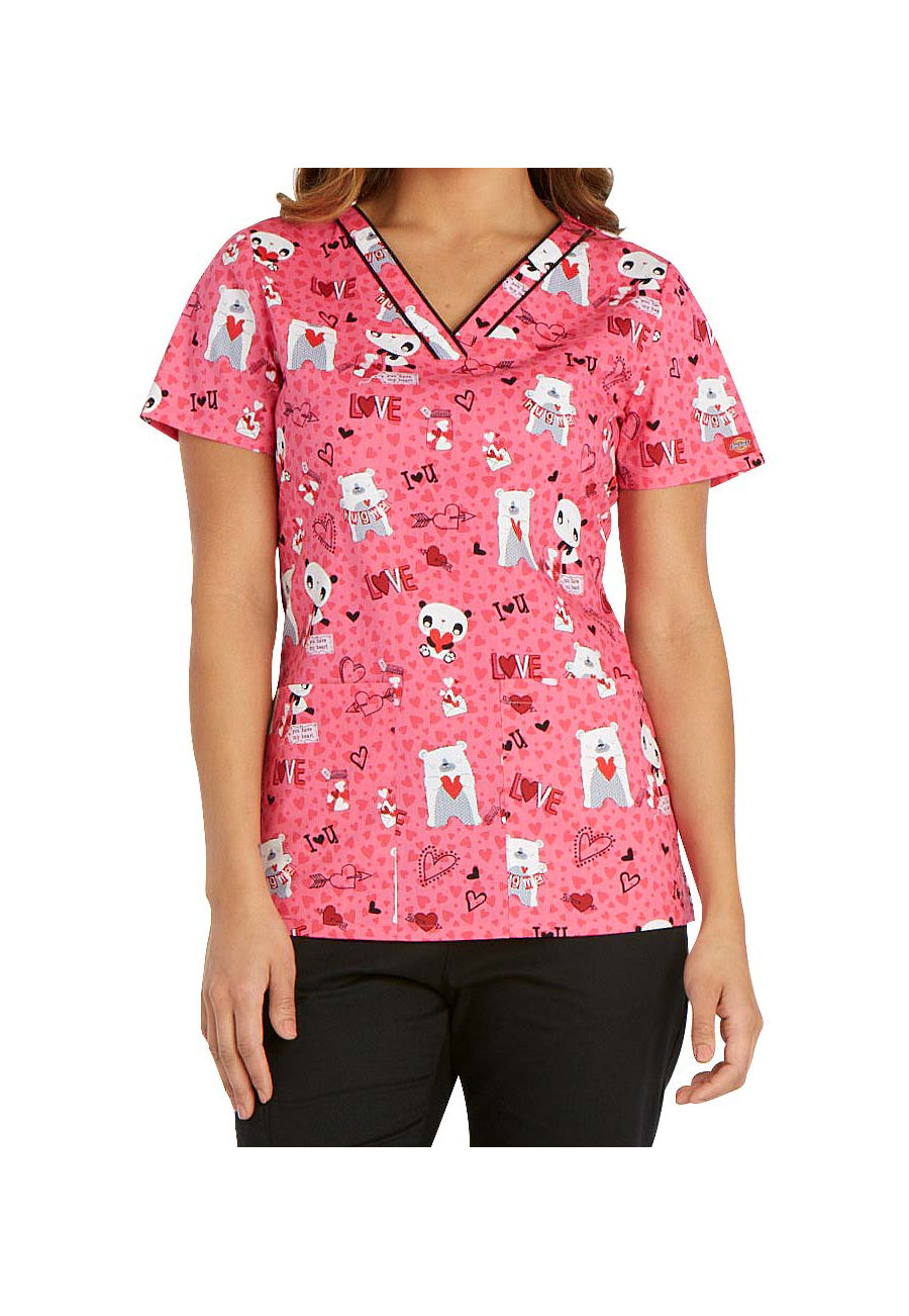 Dickies EDS Love You Beary Much Print Scrub Tops - Love You Beary Much