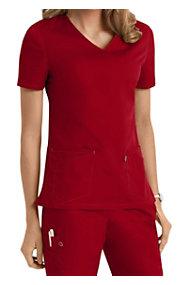 Scrubzone Red Women's V-neck Tops