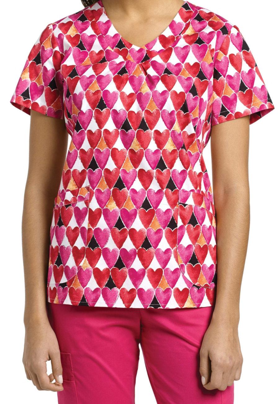 White Cross Hearts Align V-neck Print Scrub Top