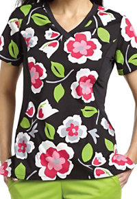 White Cross Matisse Blooms V-neck Print Scrub Tops
