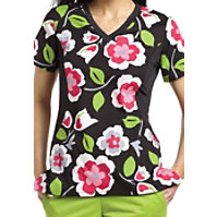 White Cross Matisse Blooms V-neck Print Tops