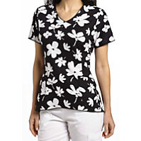 White Cross Bella Fiore V-neck Print Tops