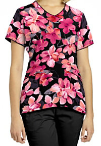 White Cross Coral Bloom Black V-neck Print Scrub Tops