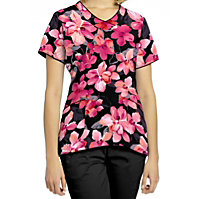 White Cross Coral Bloom Black V-neck Print Tops