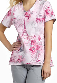 White Cross Paris Memoire V-neck Print Scrub Tops