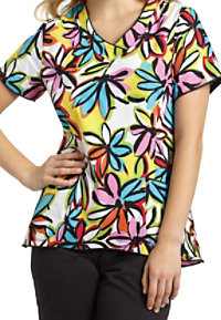 White Cross Zhoe V-neck Print Scrub Tops