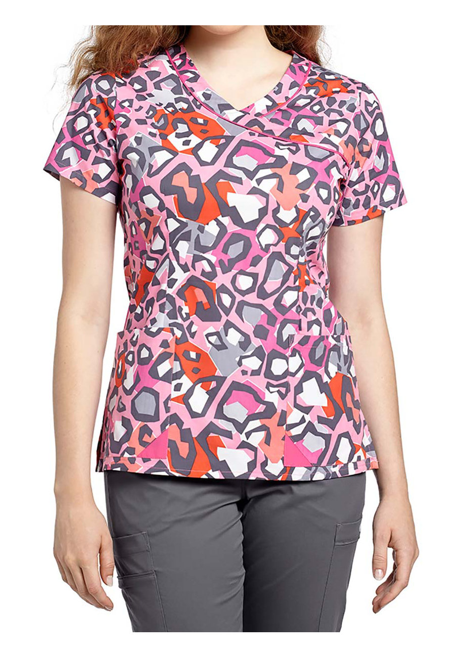 White Cross Coral Cat Crossover Print Scrub Tops - Coral Cat - L