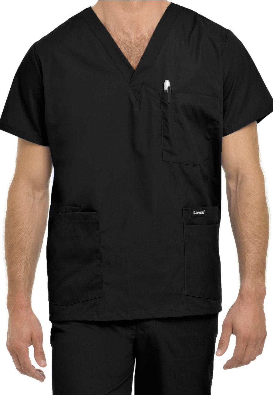 Landau Essentials Men's 5-pocket Scrub Tops - Black - M plus size,  plus size fashion plus size appare