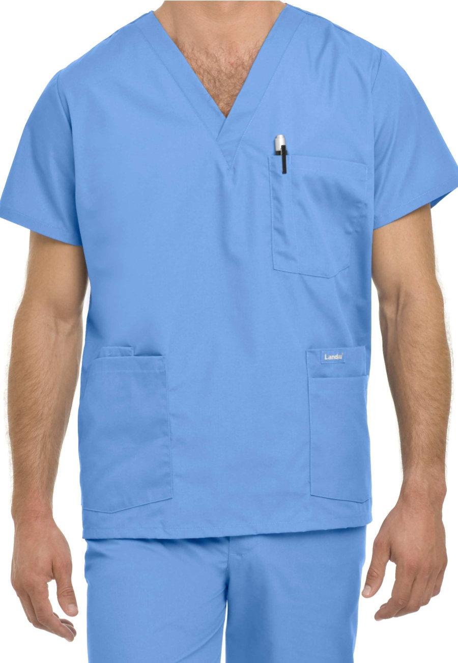 Landau Essentials Men's 5-pocket Scrub Tops - Ceil - S plus size,  plus size fashion plus size appare