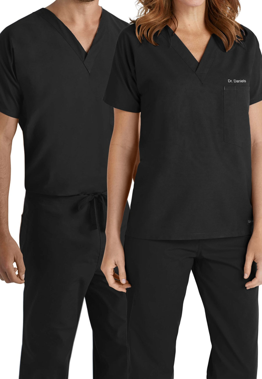Landau Essentials Unisex V-neck With Chest Pocket Scrub Tops - Black - 2X plus size,  plus size fashion plus size appare