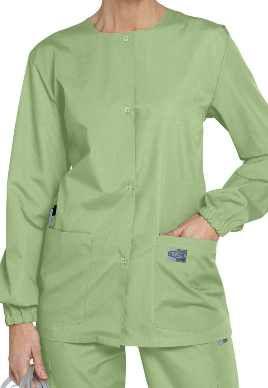 Scrubzone Round Neck Scrub Jackets - Aloe - 3X plus size,  plus size fashion plus size appare