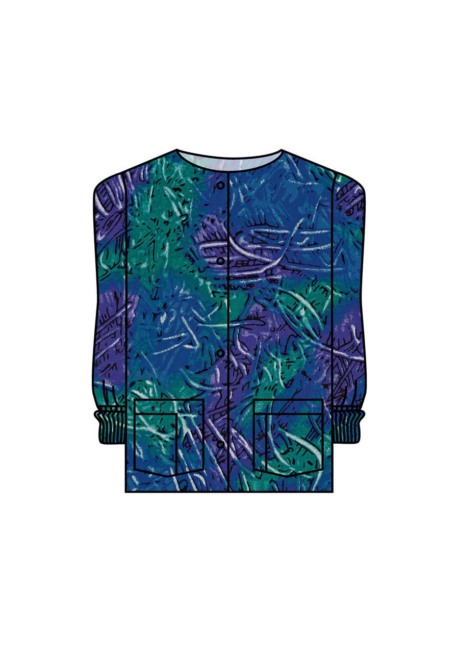 Landau Finger Paint Print Scrub Jackets