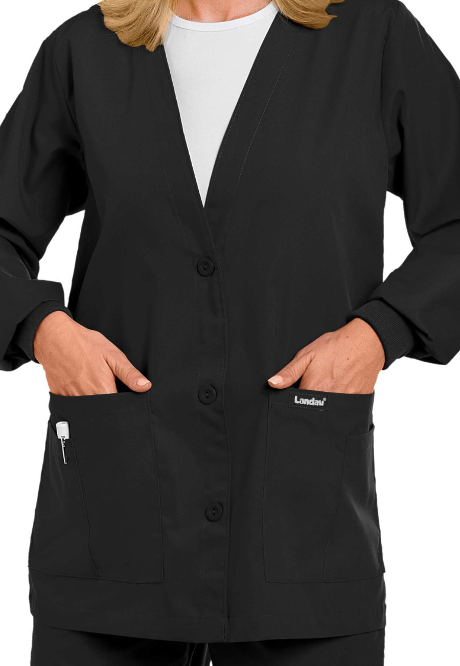 Landau Essentials V-neck Cardigan Scrub Jackets - Black - L plus size,  plus size fashion plus size appare