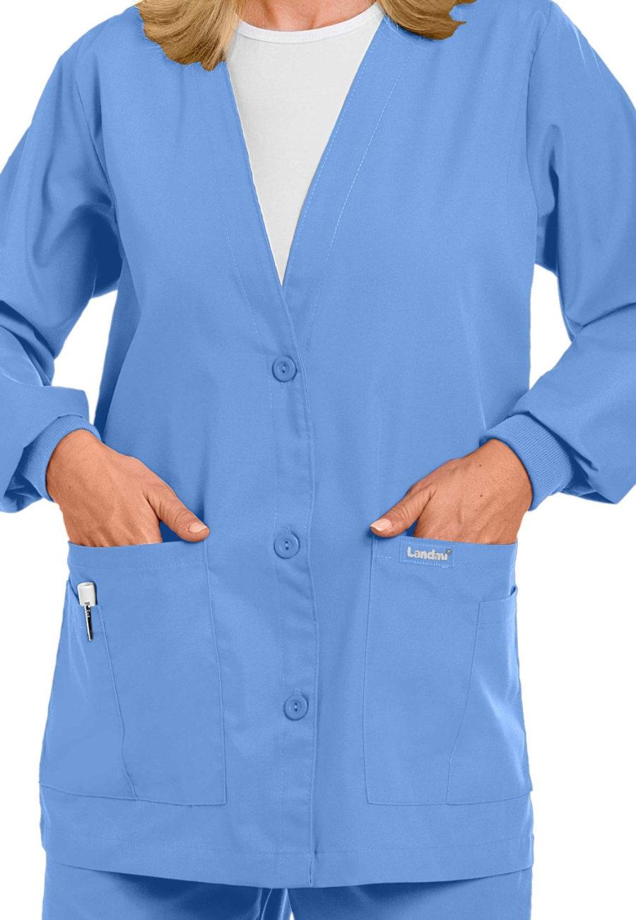 Landau Essentials V-neck Cardigan Scrub Jackets - Ceil - 2X plus size,  plus size fashion plus size appare