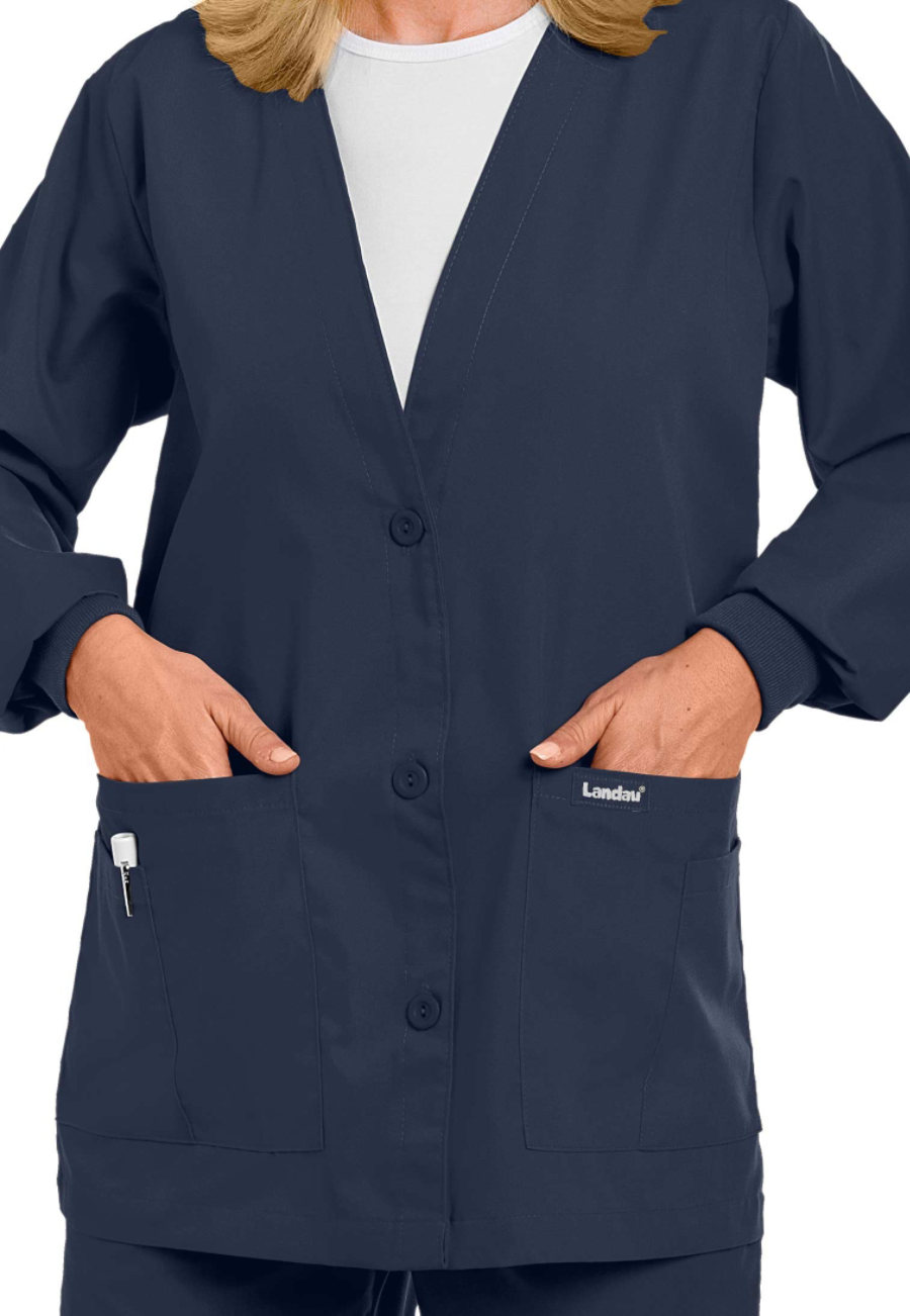Landau V-neck scrub jacket - in Ciel, Black, Chestnut, additional colors. Available for Groups! plus size uniforms,  plus size scrubs, plus size nurse scrubs, plus size uniforms, plus size medical,