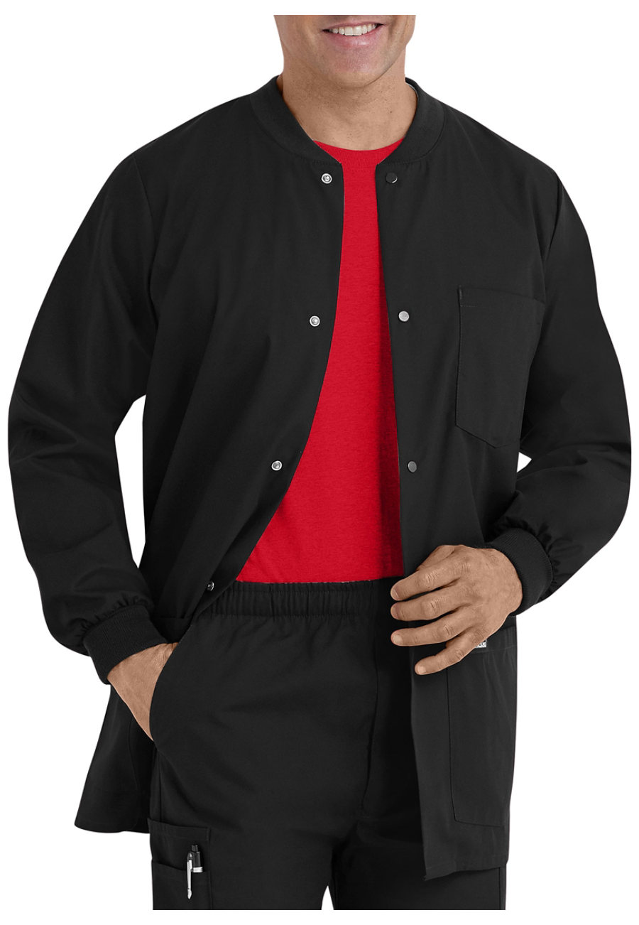 Landau Essentials Men's Warm-up Scrub Jackets - Black - L plus size,  plus size fashion plus size appare