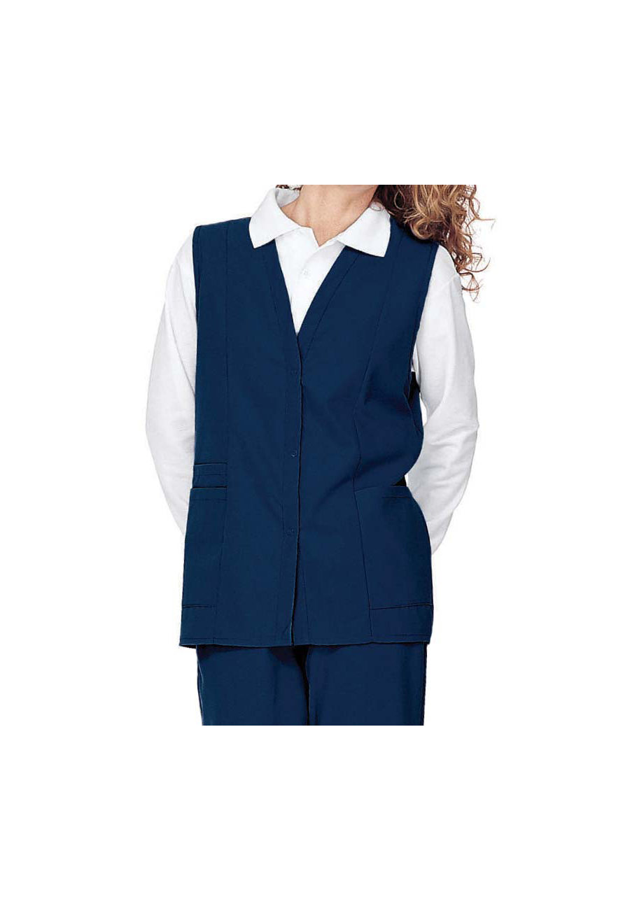 Landau Double Pocket Scrub Vest - Navy - S