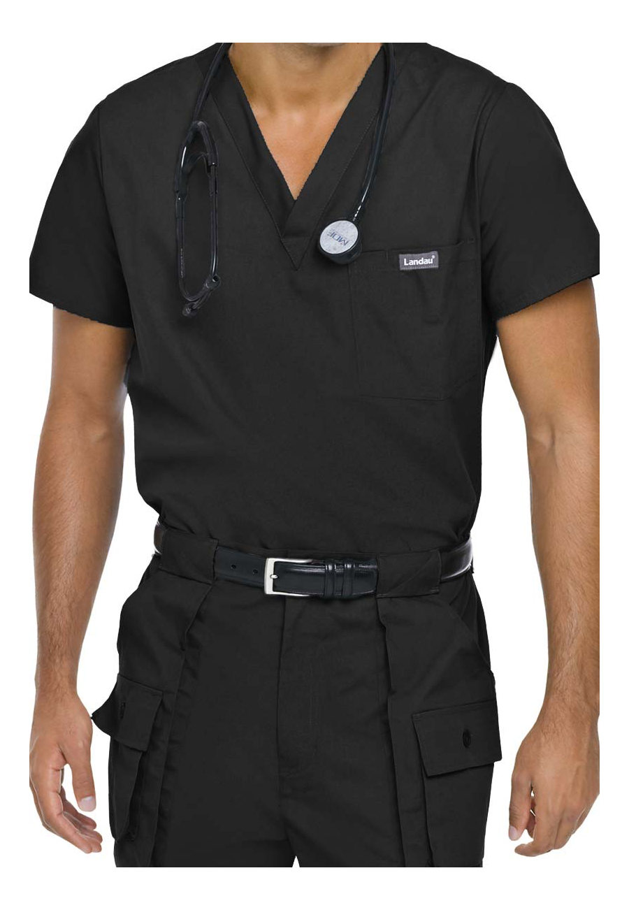 Landau Essentials Men's Vented Scrub Tops - Black - L plus size,  plus size fashion plus size appare