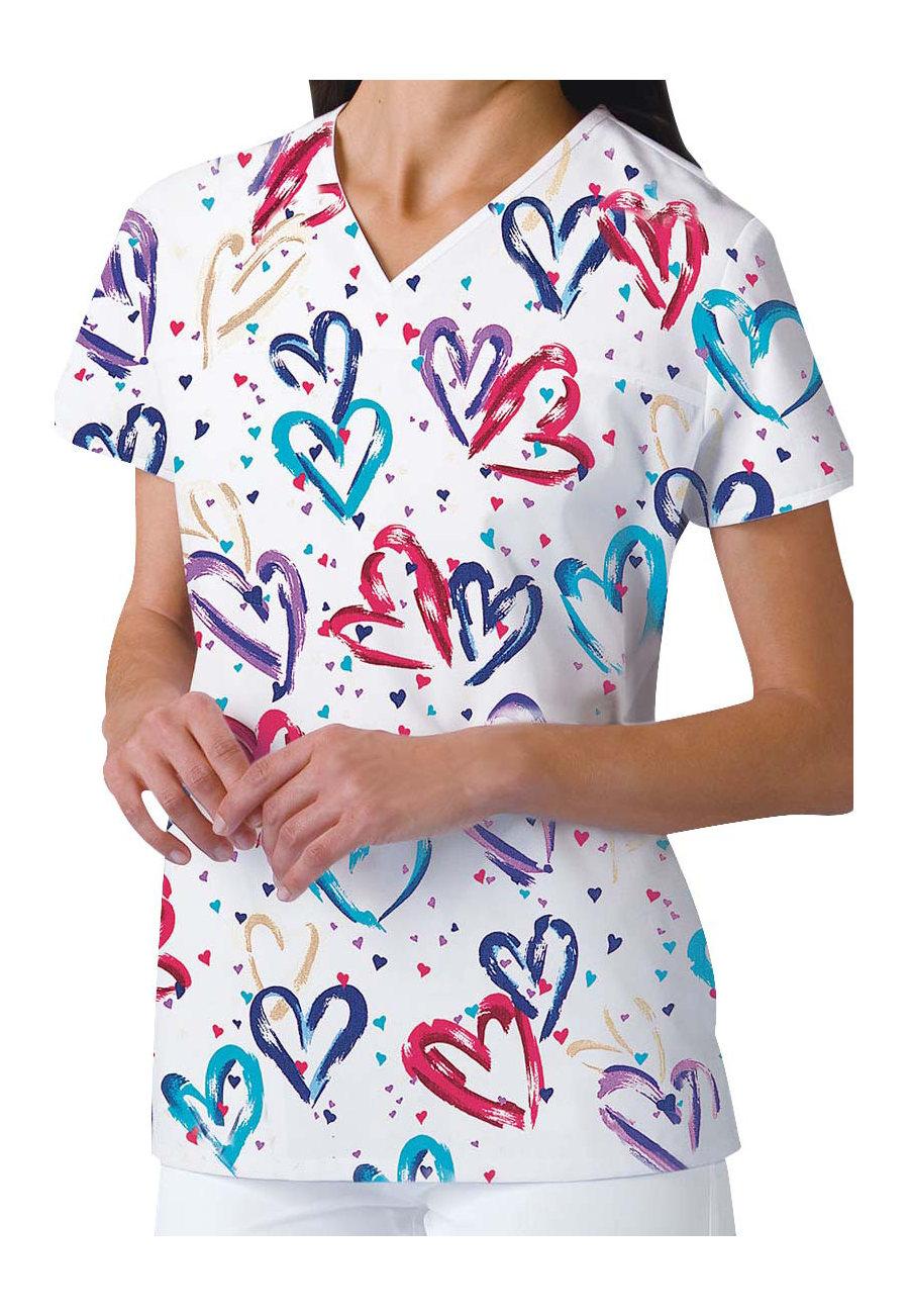 Cherokee Heartbeat V-neck Print Scrub Tops - Heart Graphic