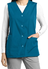 White Cross Button Down Scrub Vest
