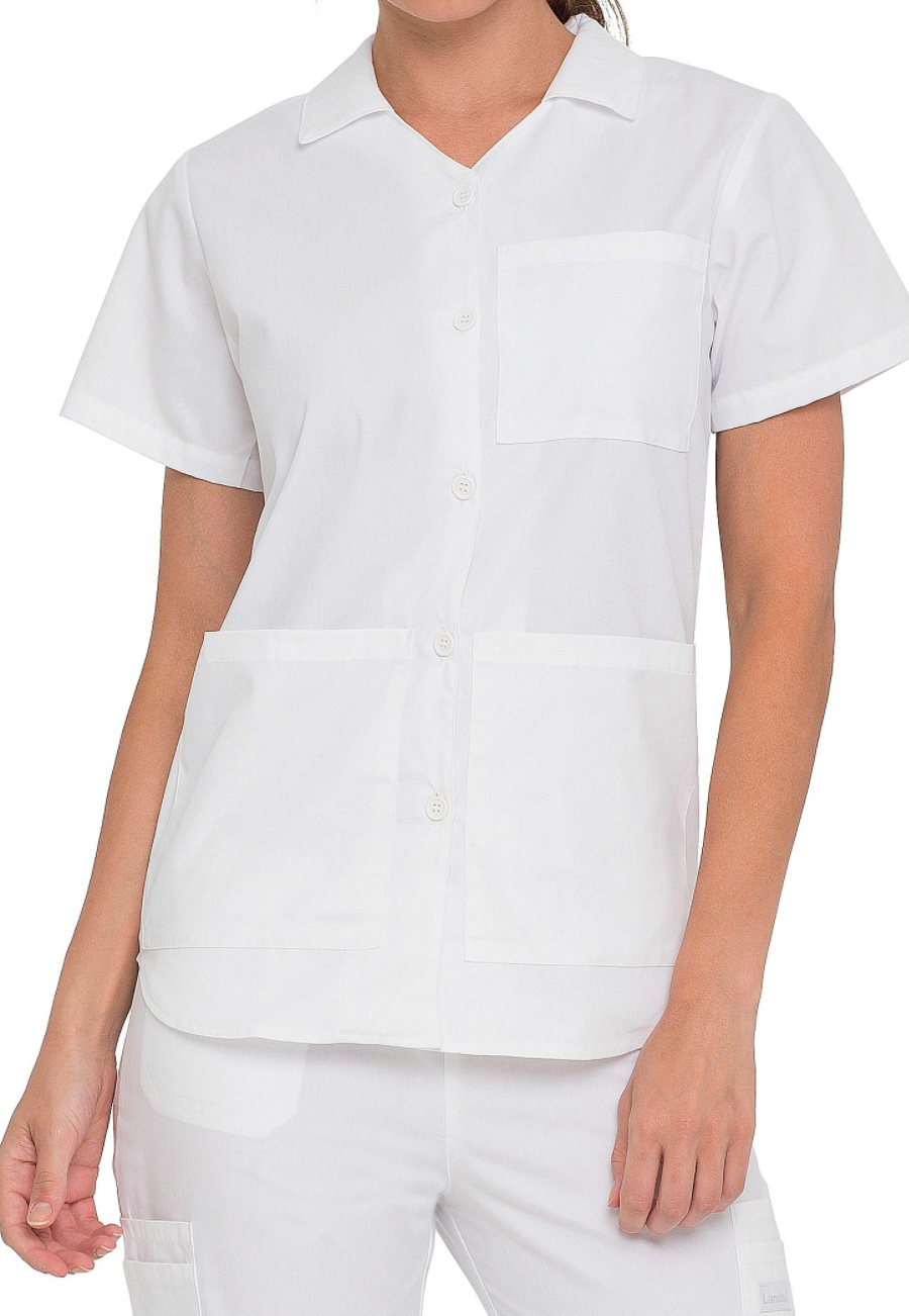 Landau Button Front Student Scrub Tops - White - 3X plus size,  plus size fashion plus size appare