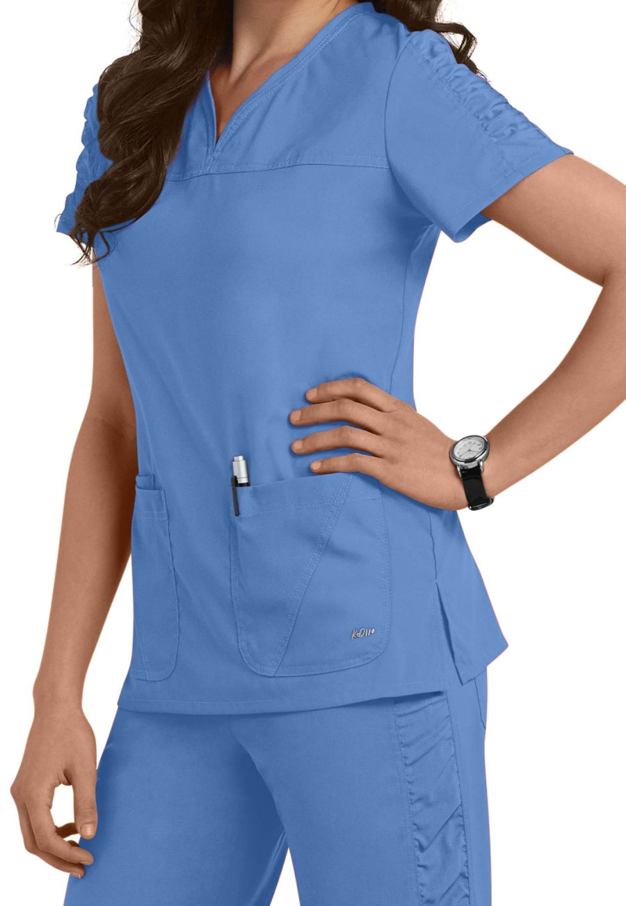Image of Barco KD110 Lexi Shirred Sleeve Scrub Tops - Ceil - 4X