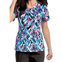 Landau Smart Stretch Dreamweaver V-neck Print Tops