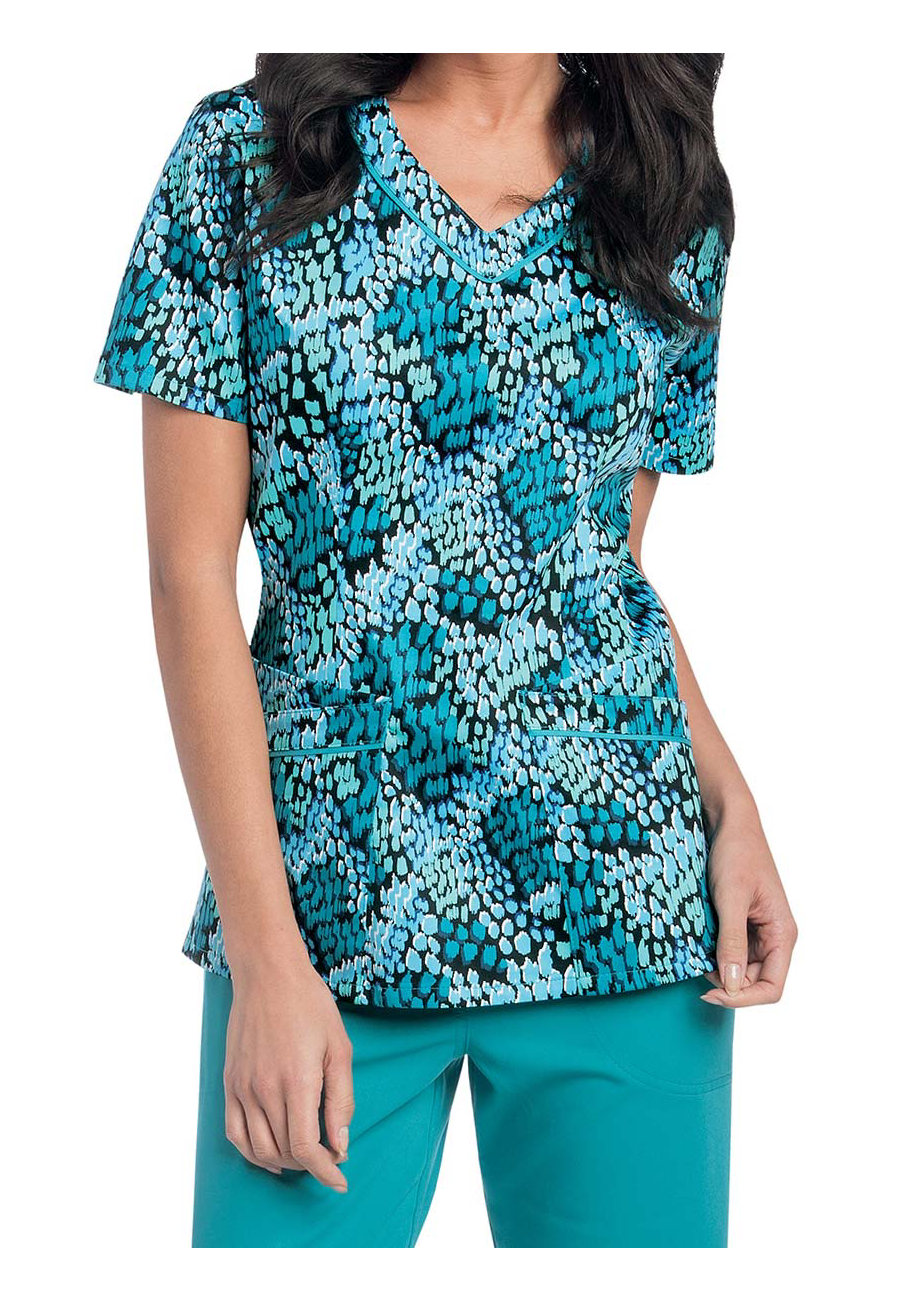 Landau Smart Stretch Raindrops V-neck Print Scrub Top