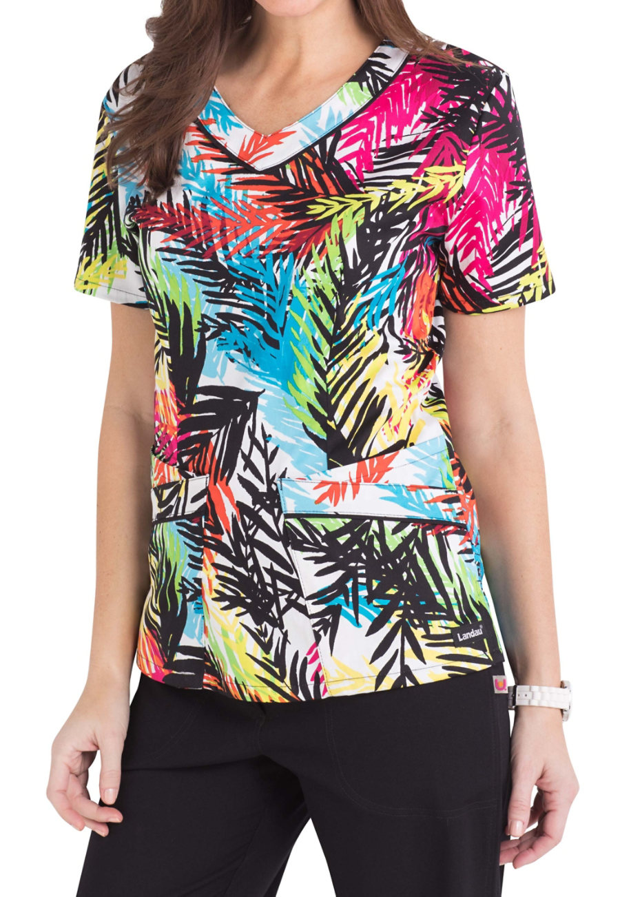 Landau Smart Stretch Rain Forest V-neck Print Scrub Top