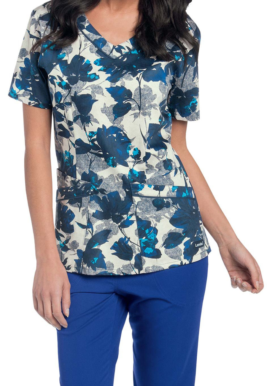 Landau Smart Stretch Rhapsody V-neck Print Scrub Top