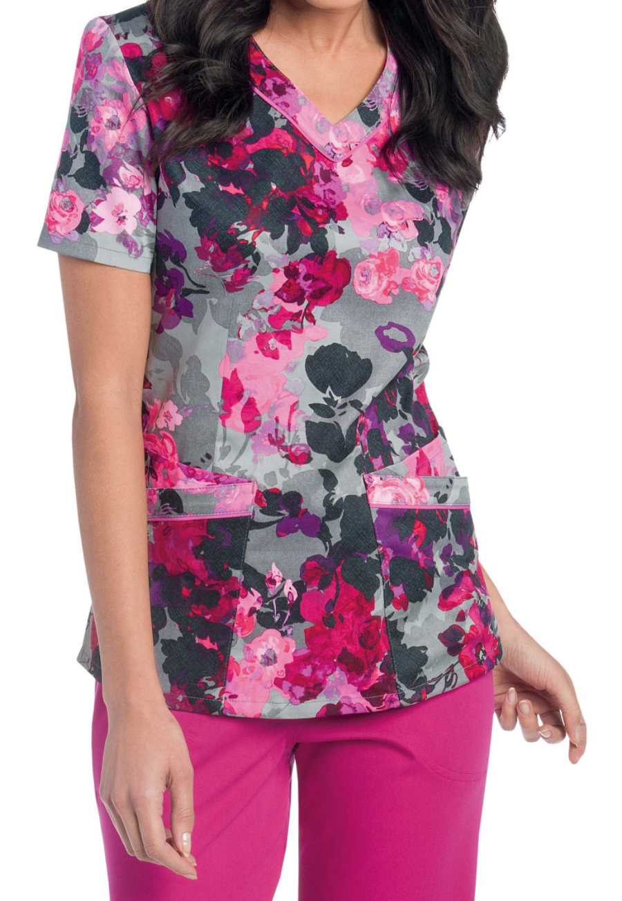 Landau Smart Stretch Tuscany V-neck Print Scrub Top
