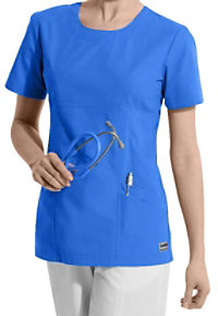 Landau Antimicrobial Scoop Neck Scrub Tops