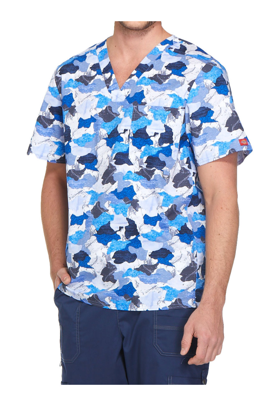 Dickies Gen Flex Men's Set In Stone V-neck Print Scrub Tops - Set In Stone