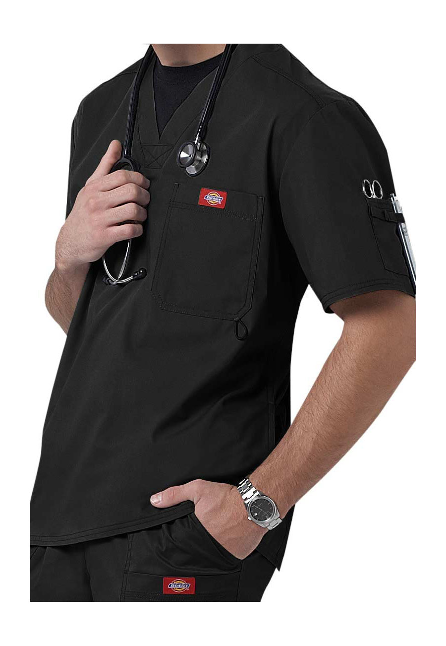 Dickies Gen Flex Men's Youtility V-neck Scrub Tops - Black - S plus size,  plus size fashion plus size appare