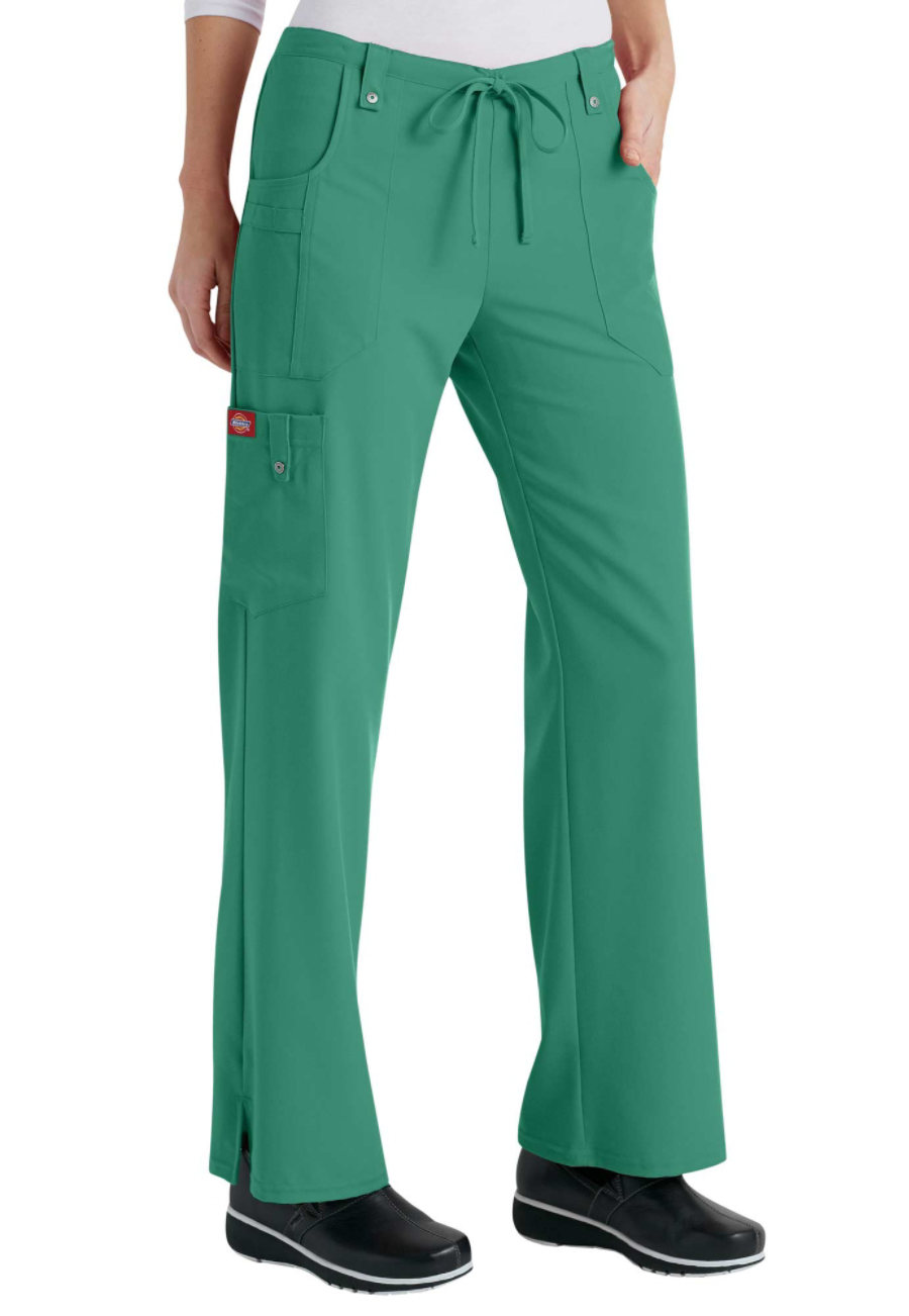 Dickies Xtreme Stretch Mid Rise Drawstring Cargo Scrub Pants - Aqua Splashes - 2X plus size,  plus size fashion plus size appare
