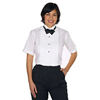 Henry Segal Ladies Short Sleeve Wing Tip Collar Tuxedo Shirt