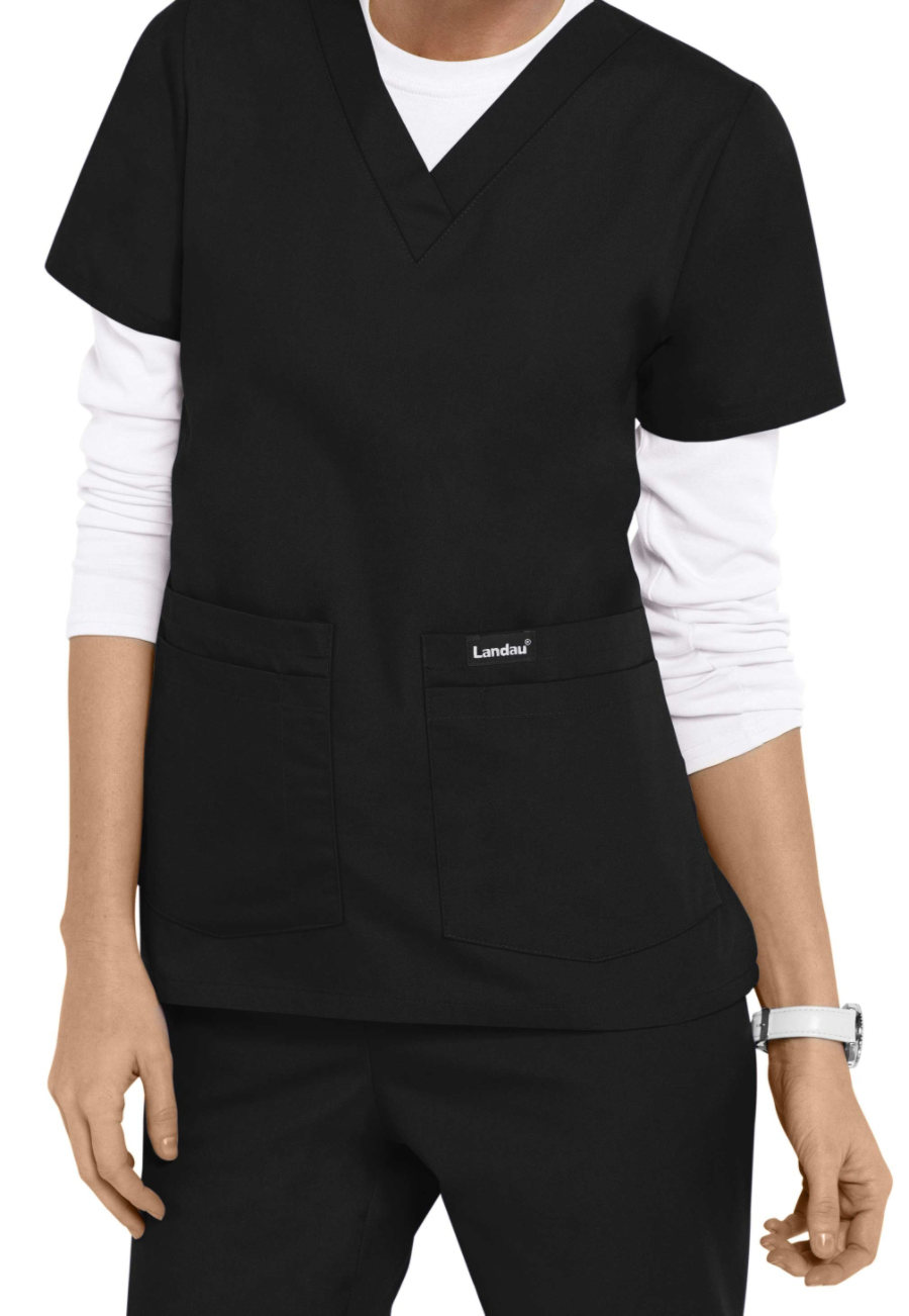 Landau Essentials V-neck 4 Pocket Scrub Tops - Black - 2X plus size,  plus size fashion plus size appare