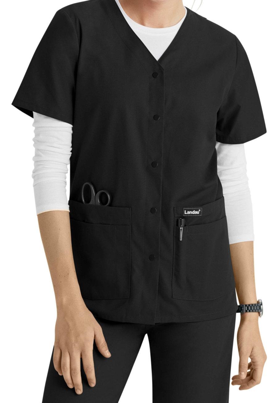 Landau Essentials Snap Front Scrub Tops - Black - L plus size,  plus size fashion plus size appare