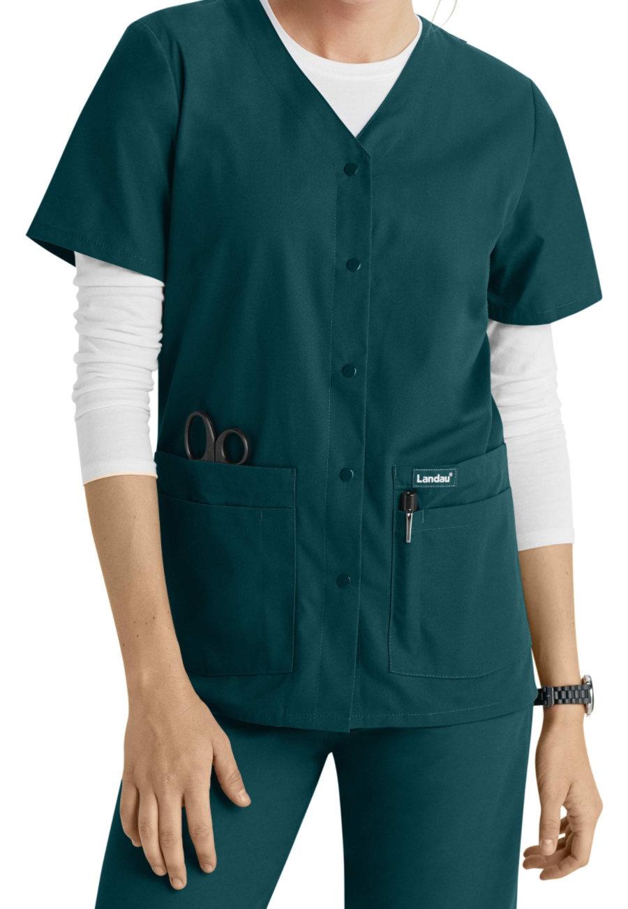 Landau Essentials Snap Front Scrub Tops - Caribbean blue - 2X plus size,  plus size fashion plus size appare