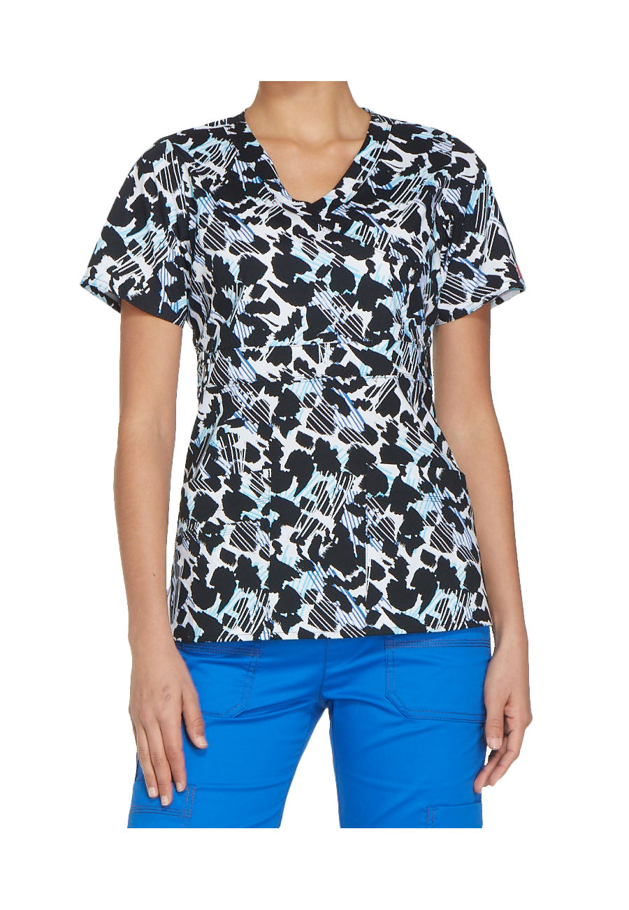 Dickies Gen Flex Start From Scratch Mock Wrap Print Scrub Tops - Start From Scratch - 2X