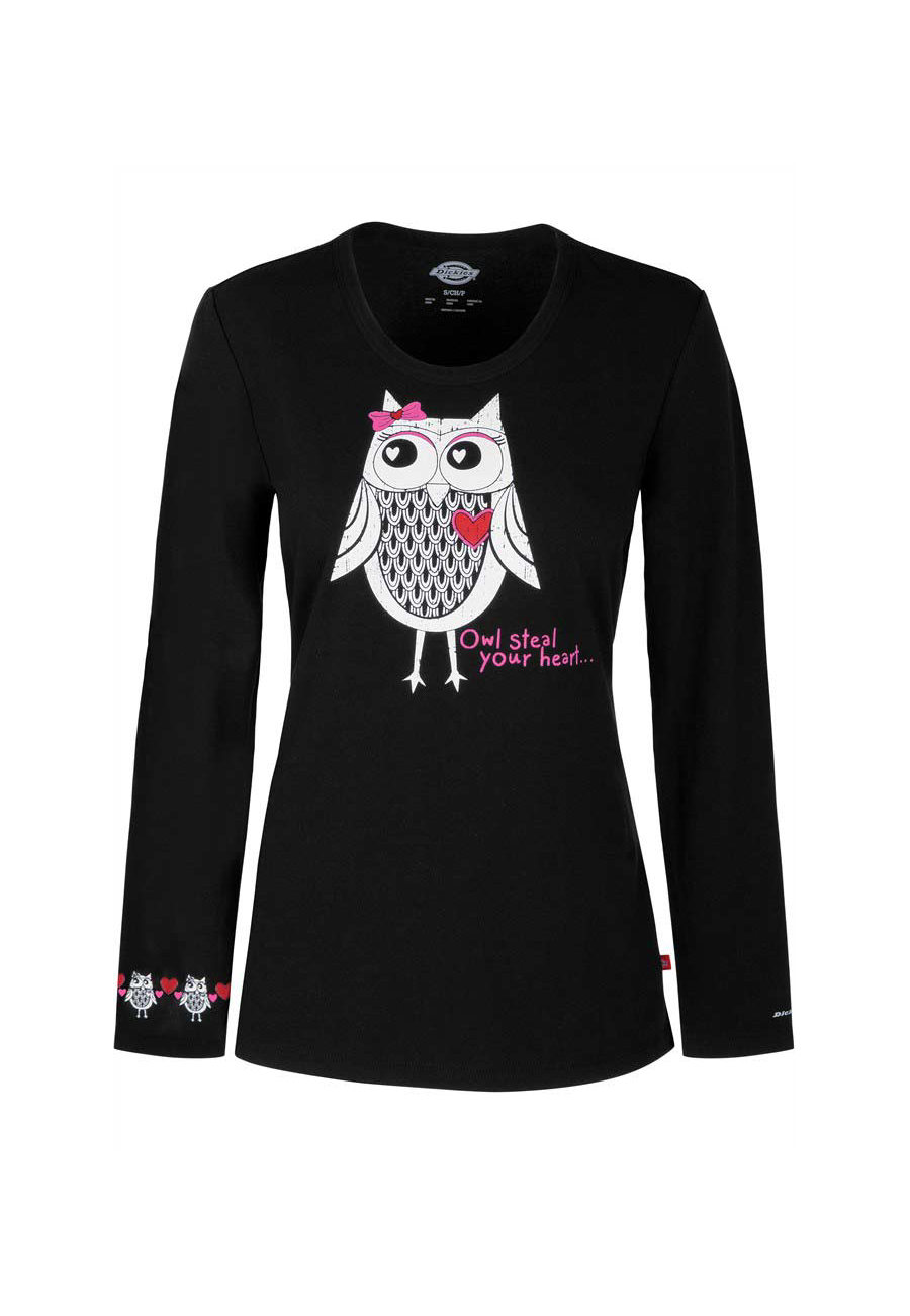 Dickies EDS Signature Owl Steal Your Heart Print Knit Underscrub - Owl Steal Your Heart